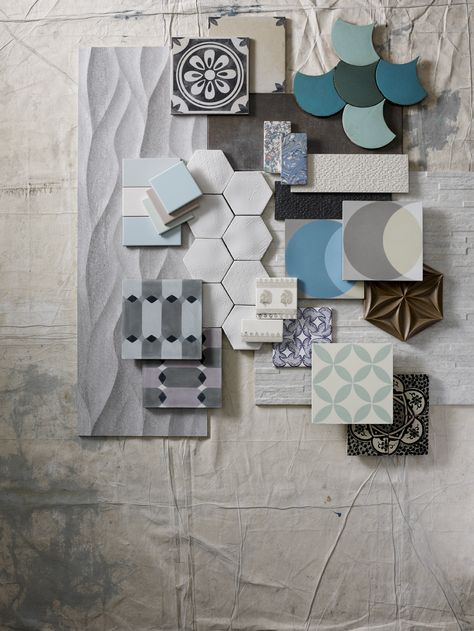 retro tegels in dit mood board. structuur tegels, relief tegels, blauw bruin interieur, cementtegels