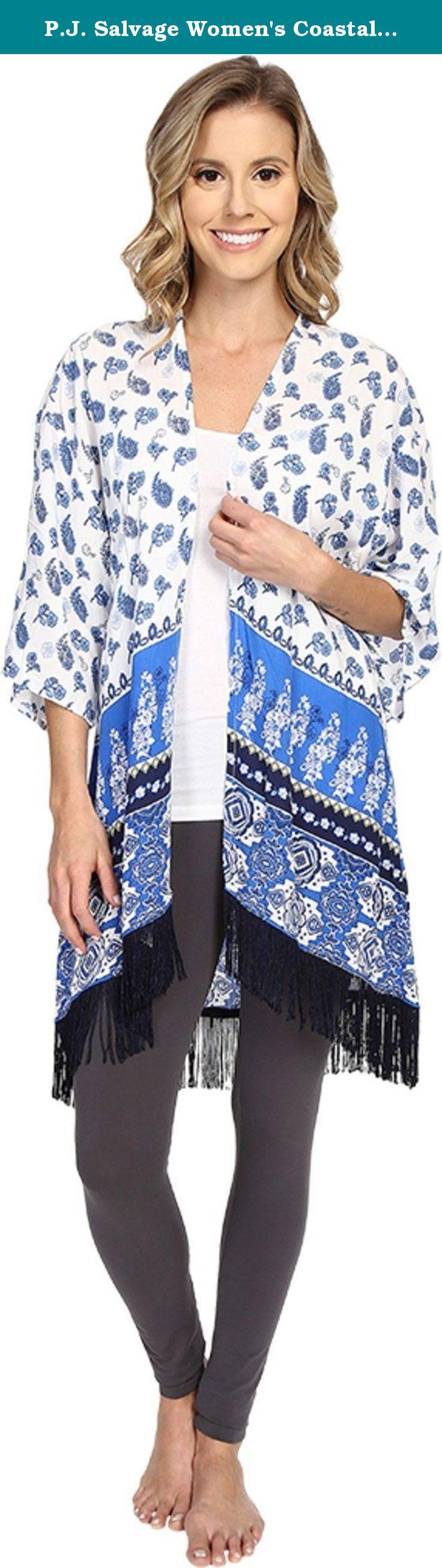 P.J. Salvage Women's Coastal Blue Print Kimono Ivory Pajama Top MD/LG. Coastal blue print throughout. Three quarter sleeves with large arm holes. Fringe along the hemline. 100% rayon. Machine wash cold, tumble dry low.