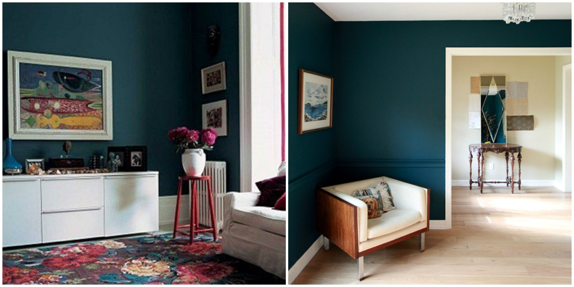 THIS Is My Dining Room Color!! Dark Turquoise Wall: Benjamin Moore Dark  Harbor