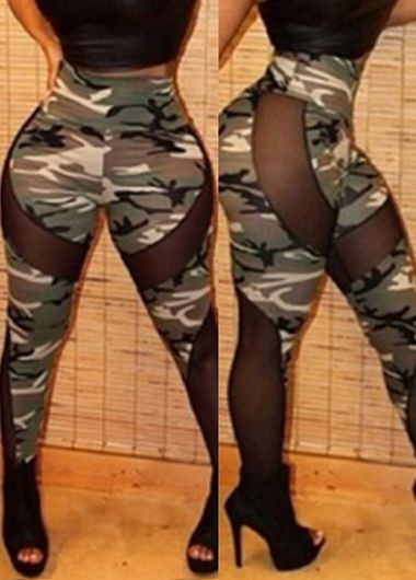 Mesh Splicing High Waist Camouflage Leggings