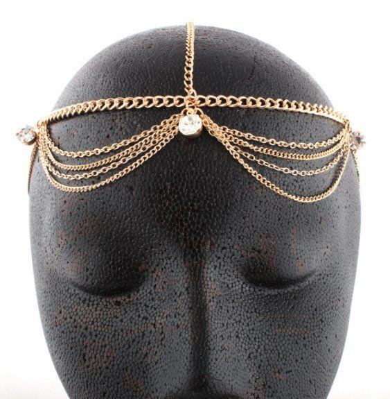 Gold Metal Head Chain with Studs.  Come to http://www.amazon.com/dp/B008OJXHVS/?tag=bizelellcom0e-20  $4.95