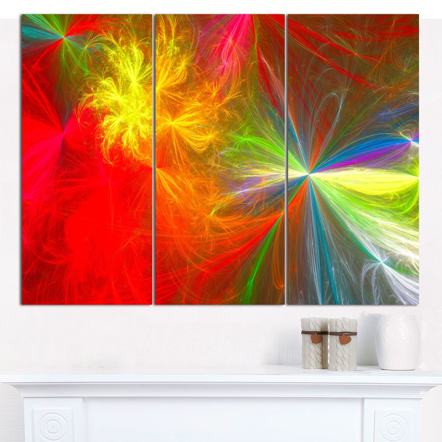 "Designart 'Colorful Christmas Spectacular Show' Abstract Canvas Art Print- 3 Panels 36""x28"""