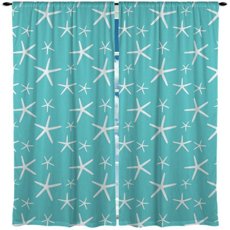 Starfish Shown Aqua Or Coral Window Curtain