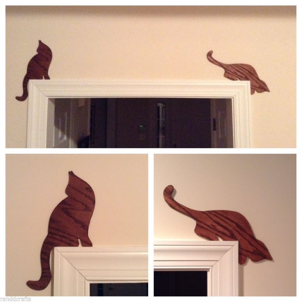Cat Silhouettes Set Of Two Door Or Window Trim Toppers Stained Mahogany Color Handmade