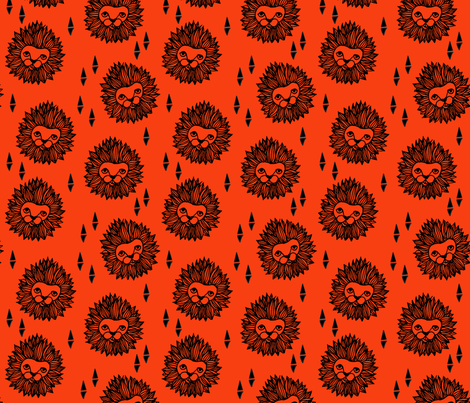 Lion - Orange fabric by papersparrow on Spoonflower - custom fabric
