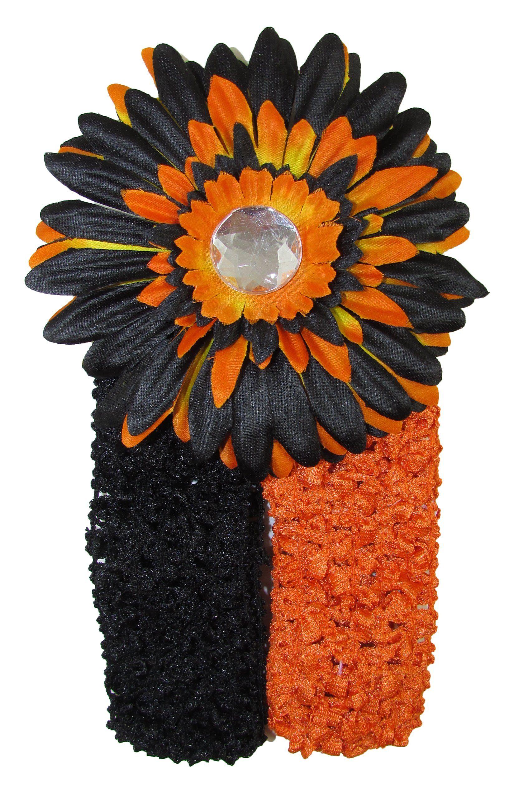 "Halloween Crochet Headbands with Black & Orange Flower Clip. Black & Orange 1.5"" Crochet Headbands. Black & Orange Gerber Daisy Flower Clip."