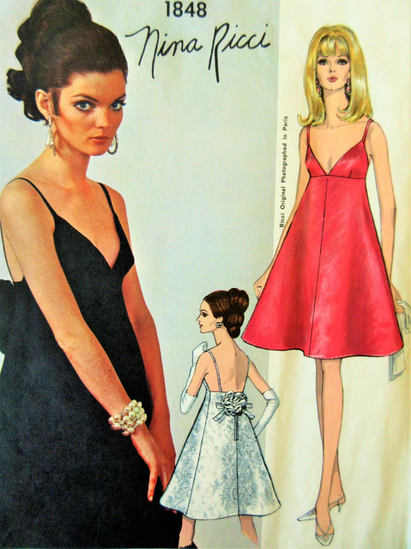 Vintage Vogue 1848 Sewing Pattern, Nina Ricci, 1960s Dress Pattern ...