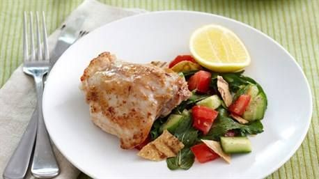 Garlic chicken with fattoush ¼ cup olive oil 6 garlic cloves, crushed 4 chicken cutlets