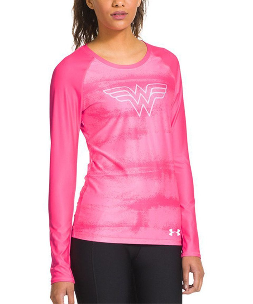 Under Armour® Pink HeatGear® Sonic Wonder Woman Long-Sleeve Top by Under Armour® #zulily #zulilyfinds