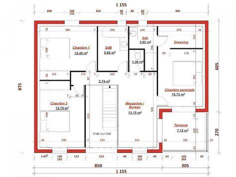 Plan étage Champ de Mars 137 - Cette maison contemporaine possède