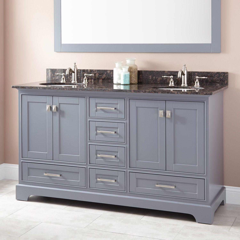 """60""""+Quen+Double+Vanity+for+Undermount+Sinks++Gray"""
