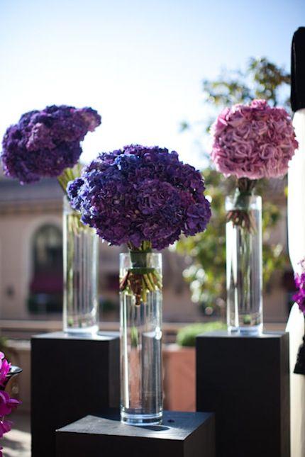 Purple hydrangea centerpieces weddings wedding
