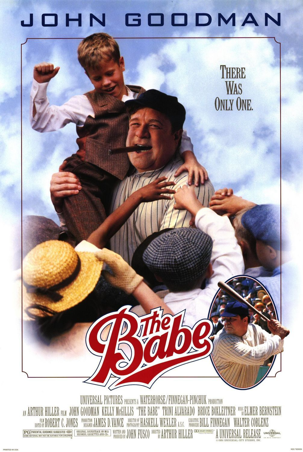 """""""The Babe"""" movie poster, 1992.  With the help of John Goodman, the life of Babe Ruth got another movie, warts and all.  Watch this one instead of """"The Babe Ruth Story"""" (1948).  Partially shot at Wrigley Field in Chicago."""