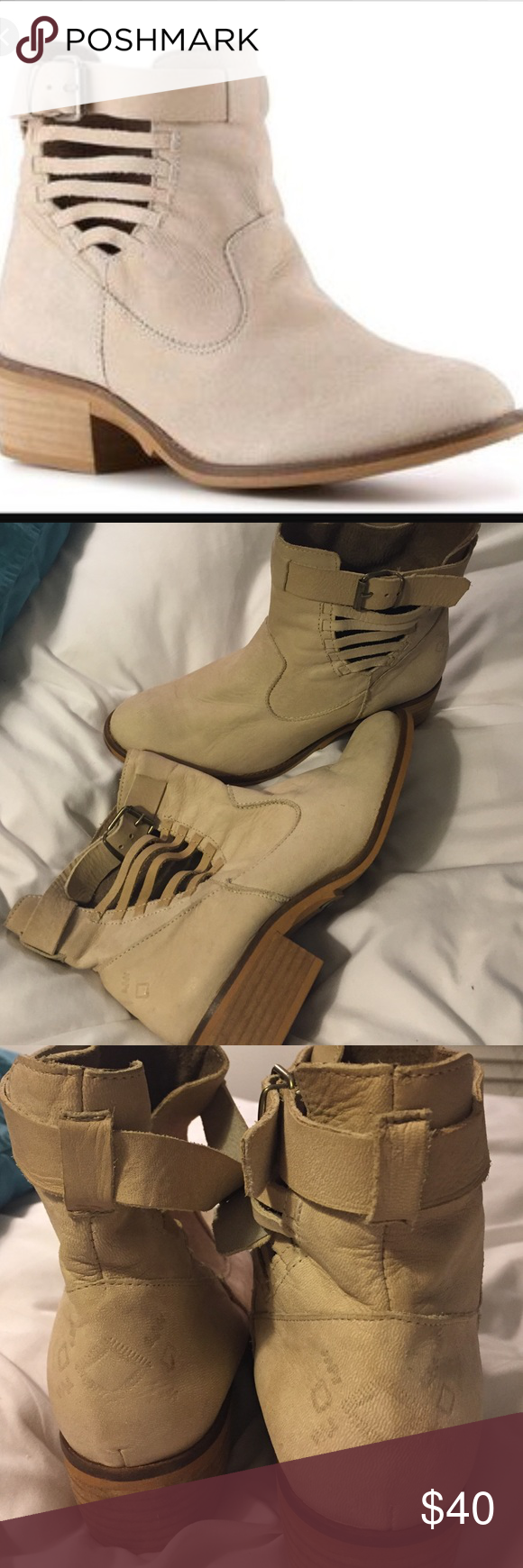 Ankle boots BEAUTIFUL Boots! So sad to let them go but they're too small for me! Near perfect condition and they appear to be genuine leather! Made in Spain and its clear they are very well made! They go with EVERYTHING! Perfect for fall! Taupe color Coolway Shoes Ankle Boots & Booties