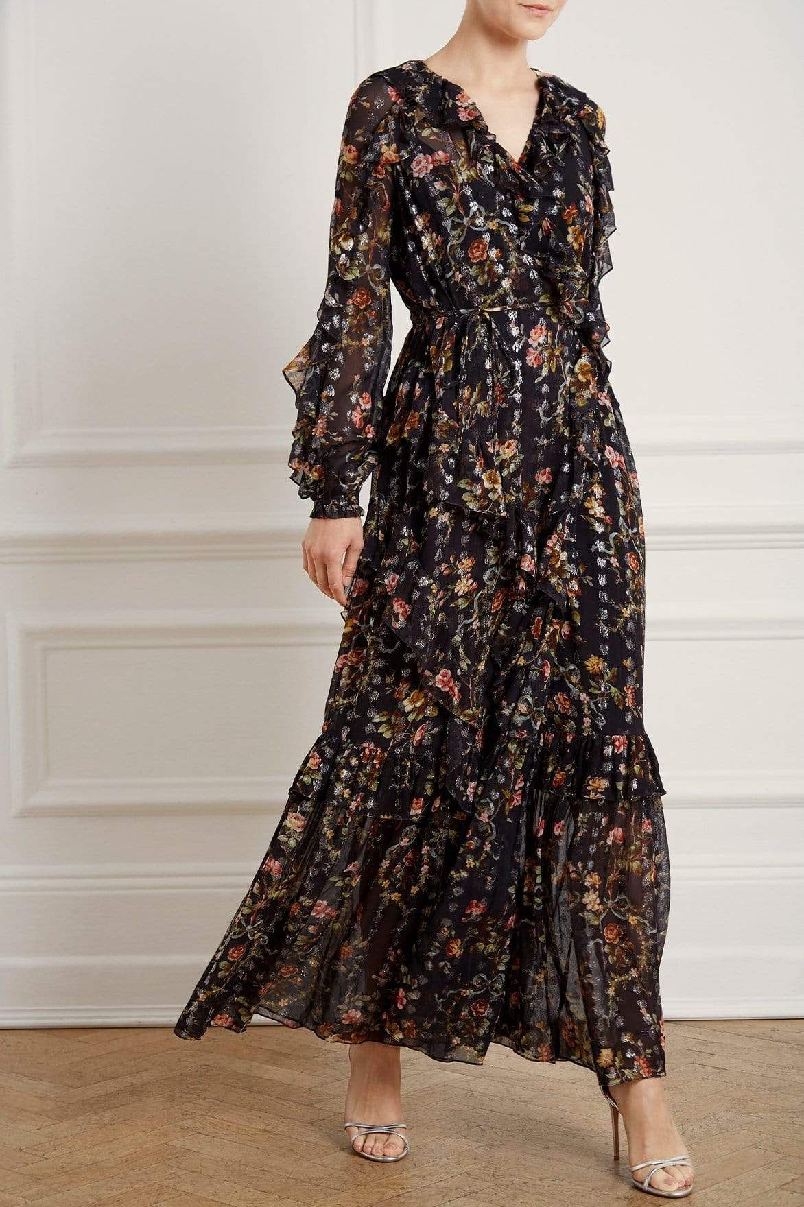 Aw19 New Season Exclusive Garland Petal Wrap Gown In Graphite