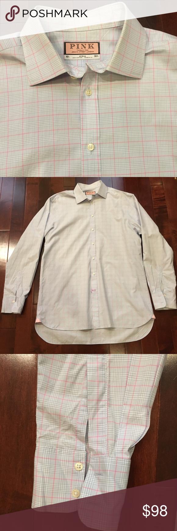 Pink dress shirt blue suit  Menus Thomas Pink Plaid Dress Shirt Great condition Freshly