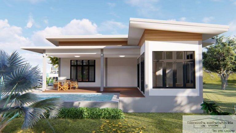 บ านสไตล โมเด ร นโทนส ขาว ด ไซน ร ปทรงต วแอล L Shaped House 3 ห องนอน 1 ห องน ำ พร อมสระว Affordable House Design Contemporary House Plans House Plan Gallery