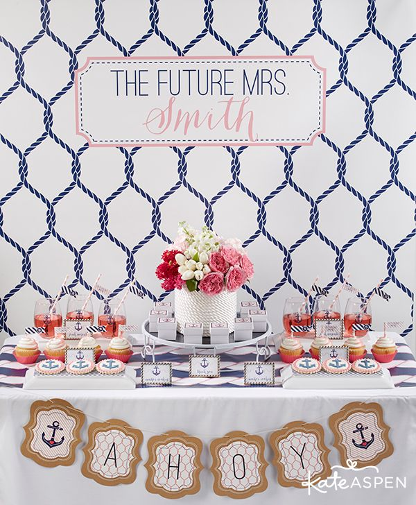 Nautical Bridal Shower Party Ideas Pink And Navy Bridal Shower Www Kateasp Bridal Shower Desserts Table Bridal Shower Desserts Nautical Theme Bridal Shower