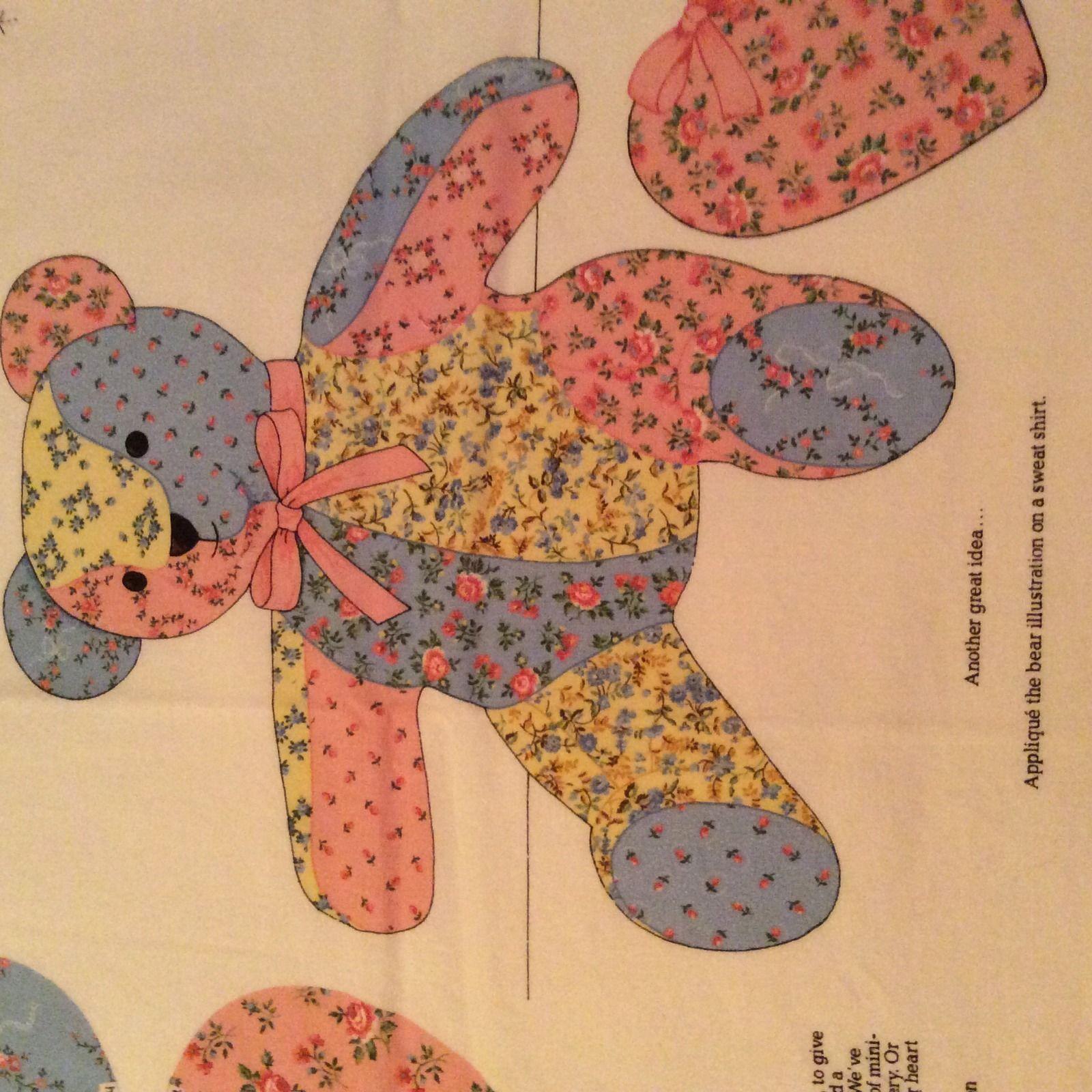 Vintage Calico Patchwork Teddy Bear Fabric Panel VIP Cranston