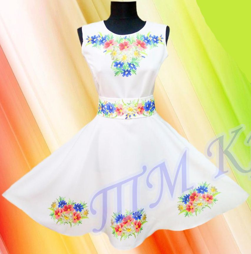 Заготовка для вишивки жіночої сукні