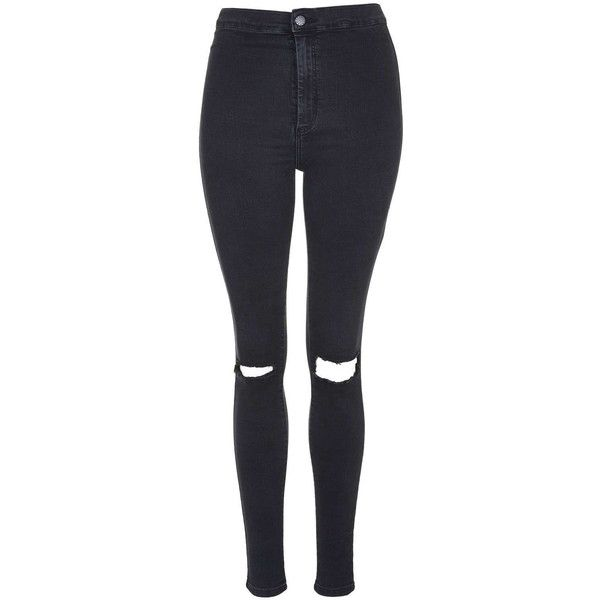TOPSHOP MOTO Washed Black Busted Knee Joni Jeans ($53) ❤ liked on Polyvore featuring jeans, pants, bottoms, topshop, washed black, cut skinny jeans, high rise skinny jeans, high rise jeans and skinny jeans