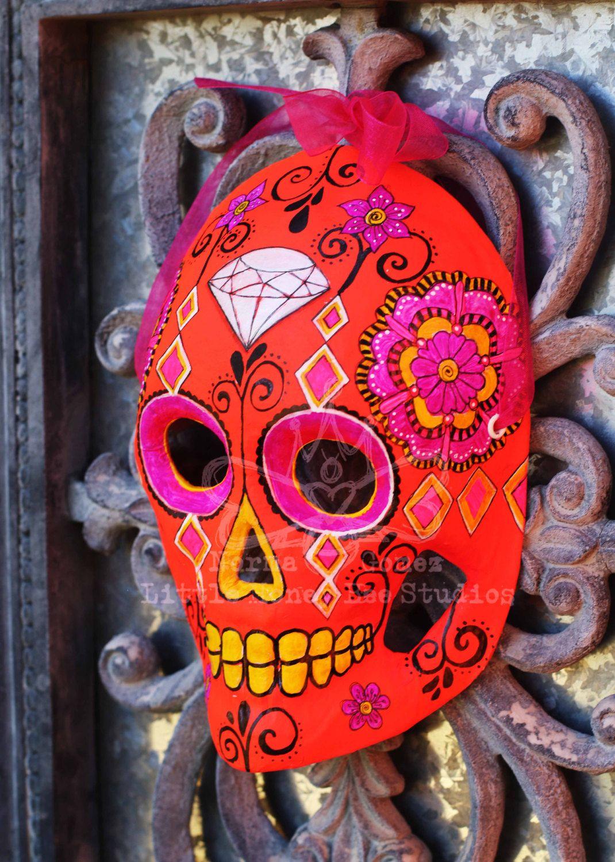 81ce0388ff9 Diamond Head Dia De Los Muertos Mask - Neon Sugar Skull Mask - Hand ...