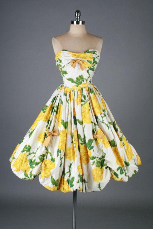 Vintage 1950s Roses Cocktail Dress Beautiful Dresses