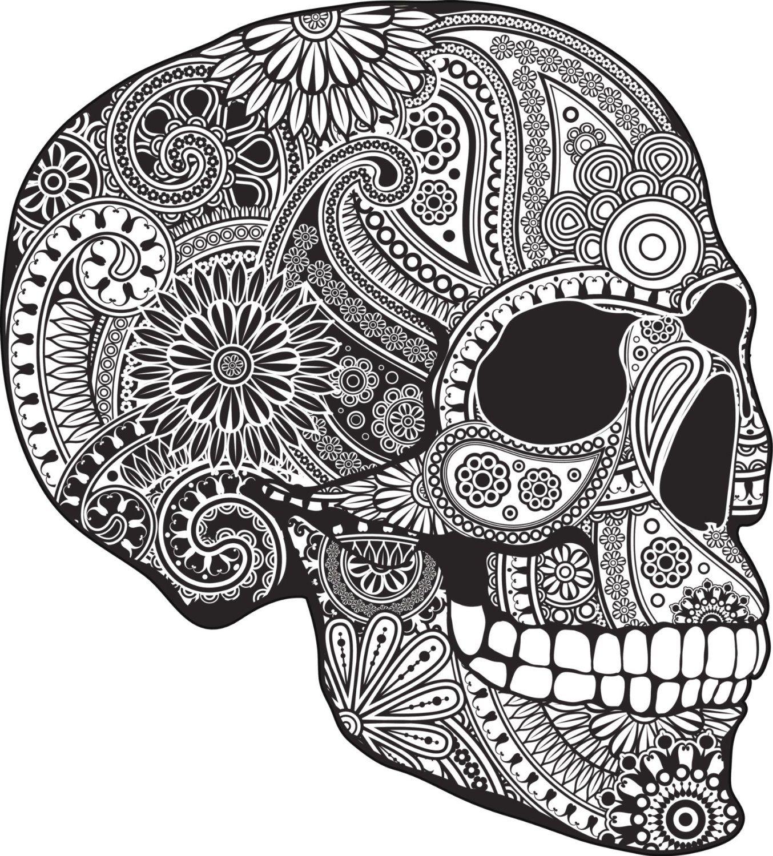 Profile sugar skull creativity pinterest sugar for Sugar skull mandala coloring pages