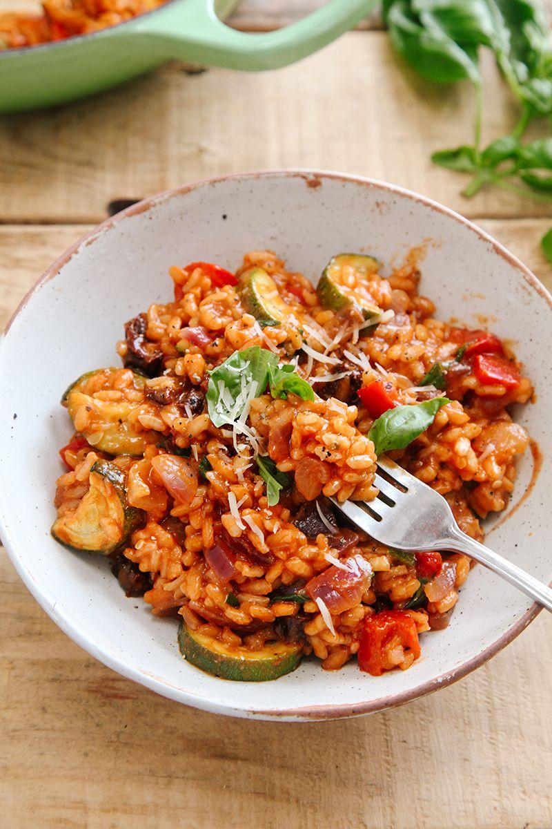 Tomato & Roasted Mediterranean Vegetable Risotto (Vegan)