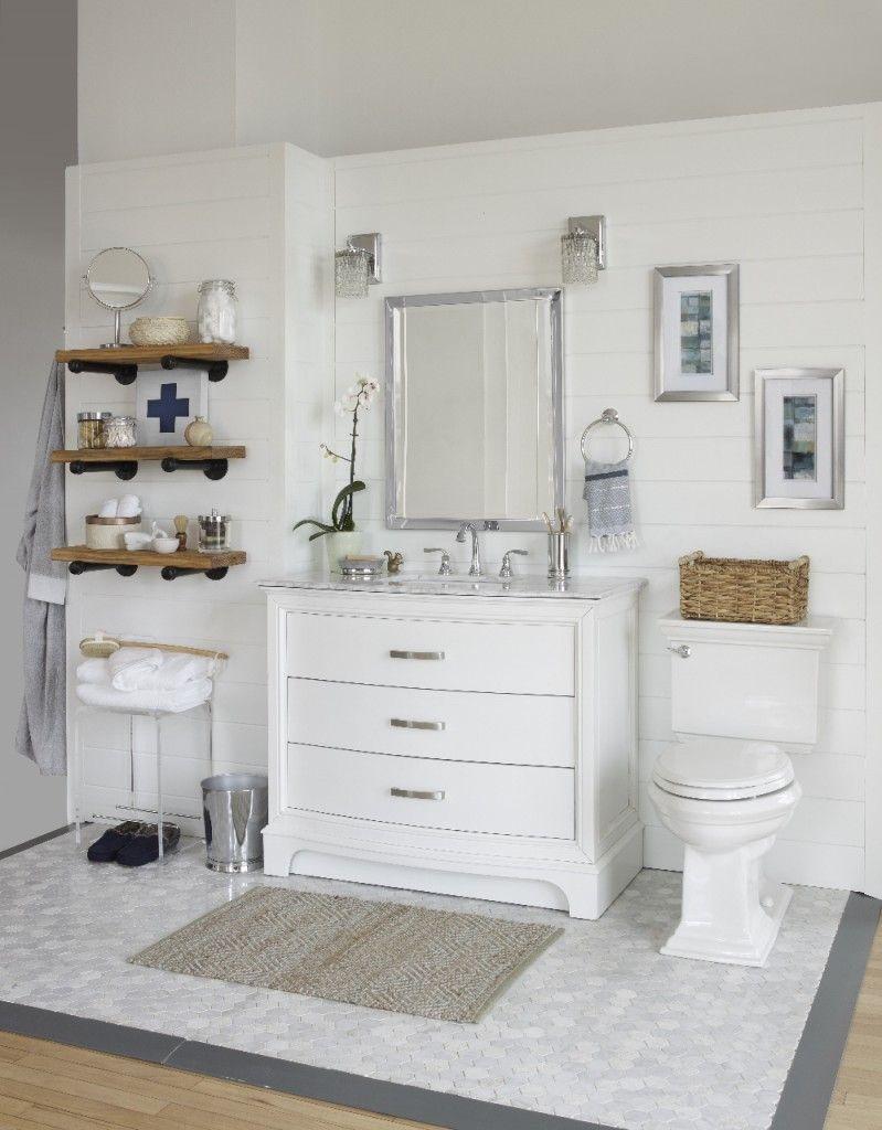 A White Modern Rustic Bathroom Reveal: Shop The Look | Bathrooms ...