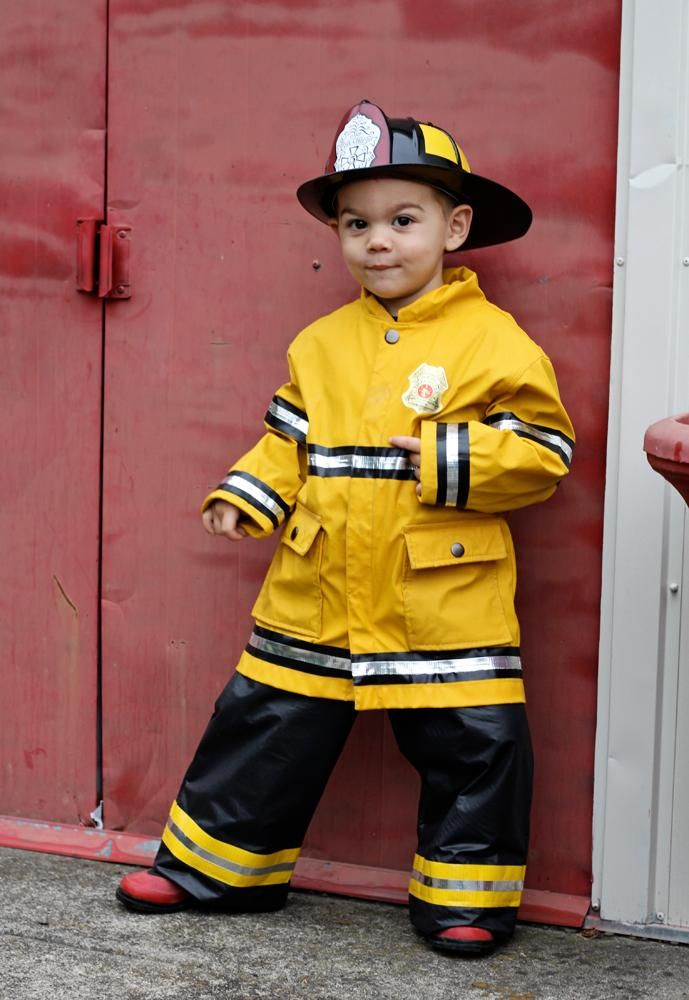 4709a068 DIY Firefighter Costume: rain jacket, black electrical tape, and Crome duct  tape