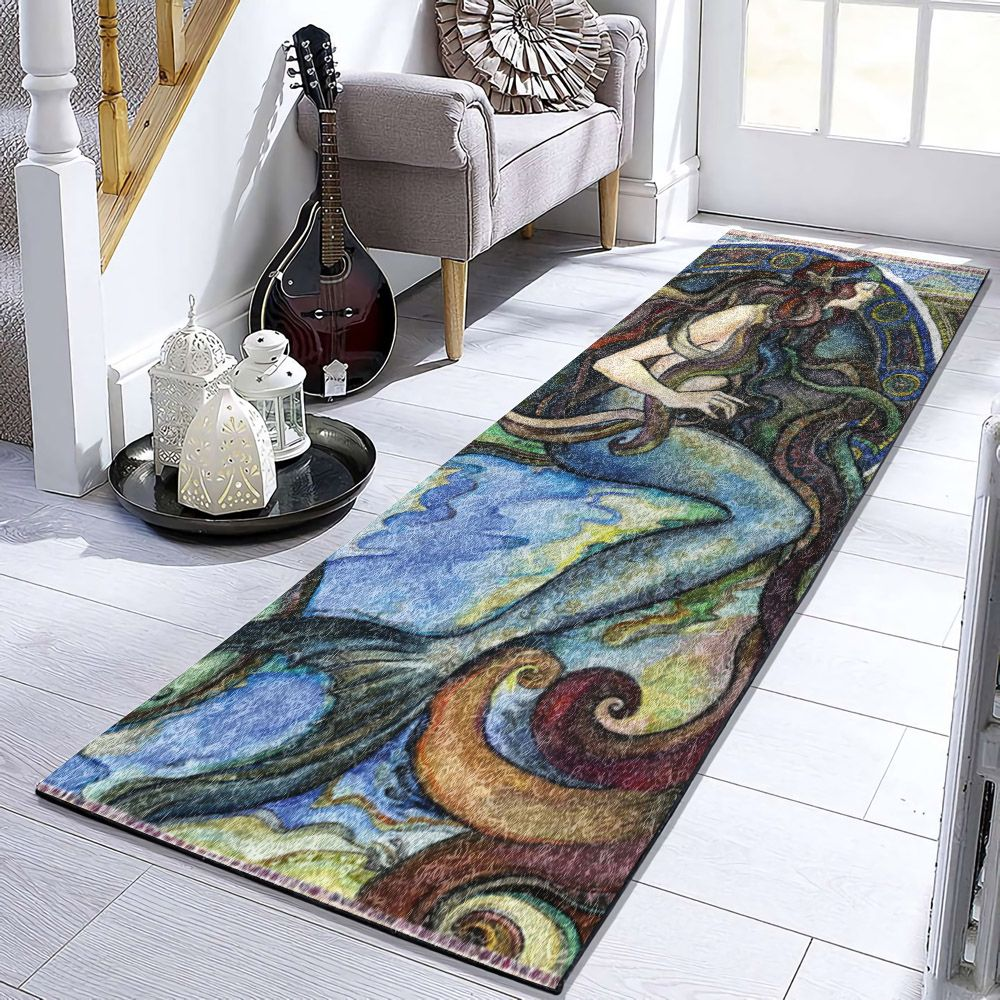 Under The Sea A Mermaid Vd2810011ru Runner Carpet Mermaid Contemporary Rug Under The Sea