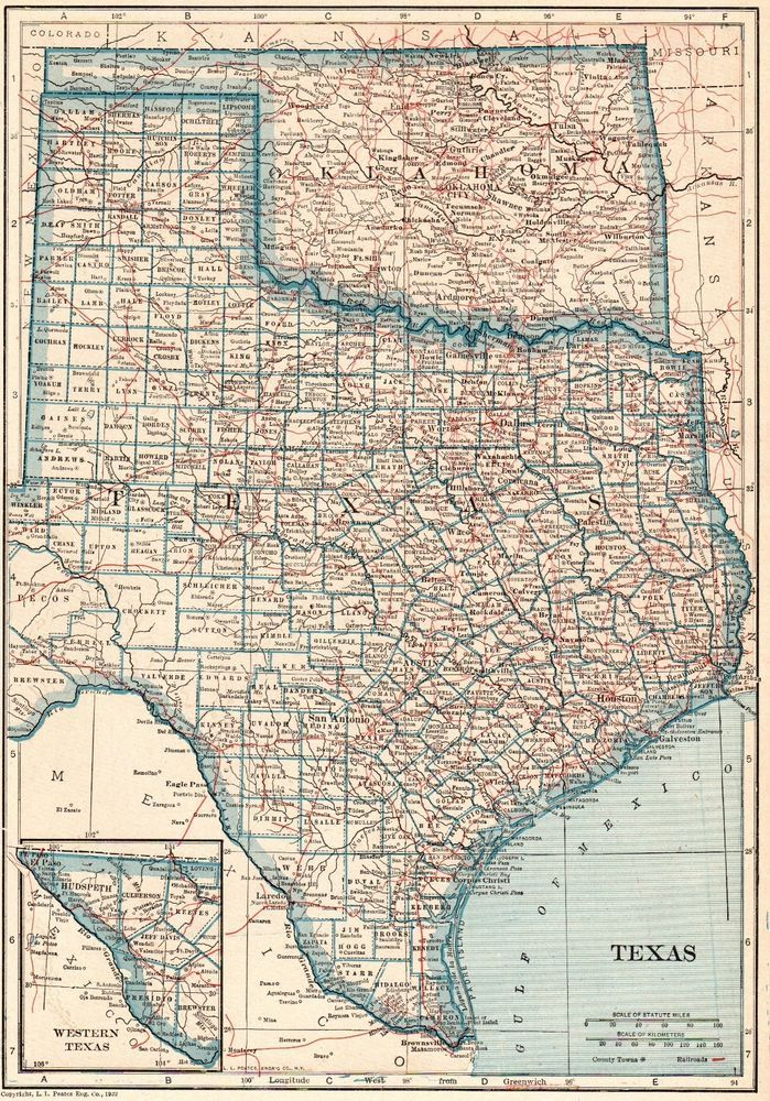 1922 Antique TEXAS State Map Original Map of Texas and