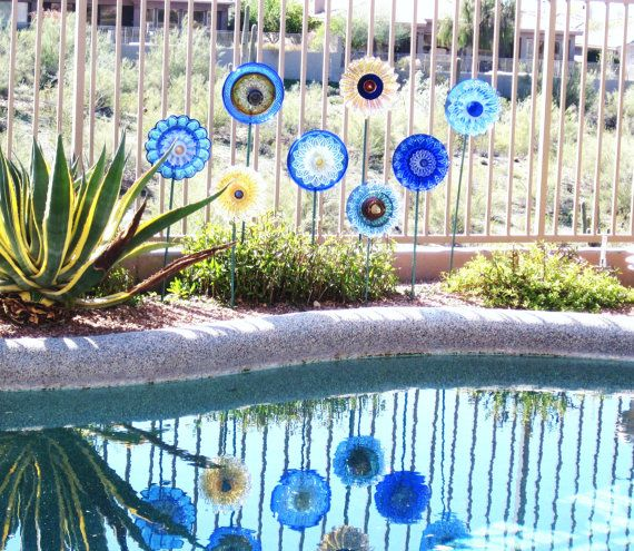 Recycled Glass Plant Flower Yard Garden Stakes