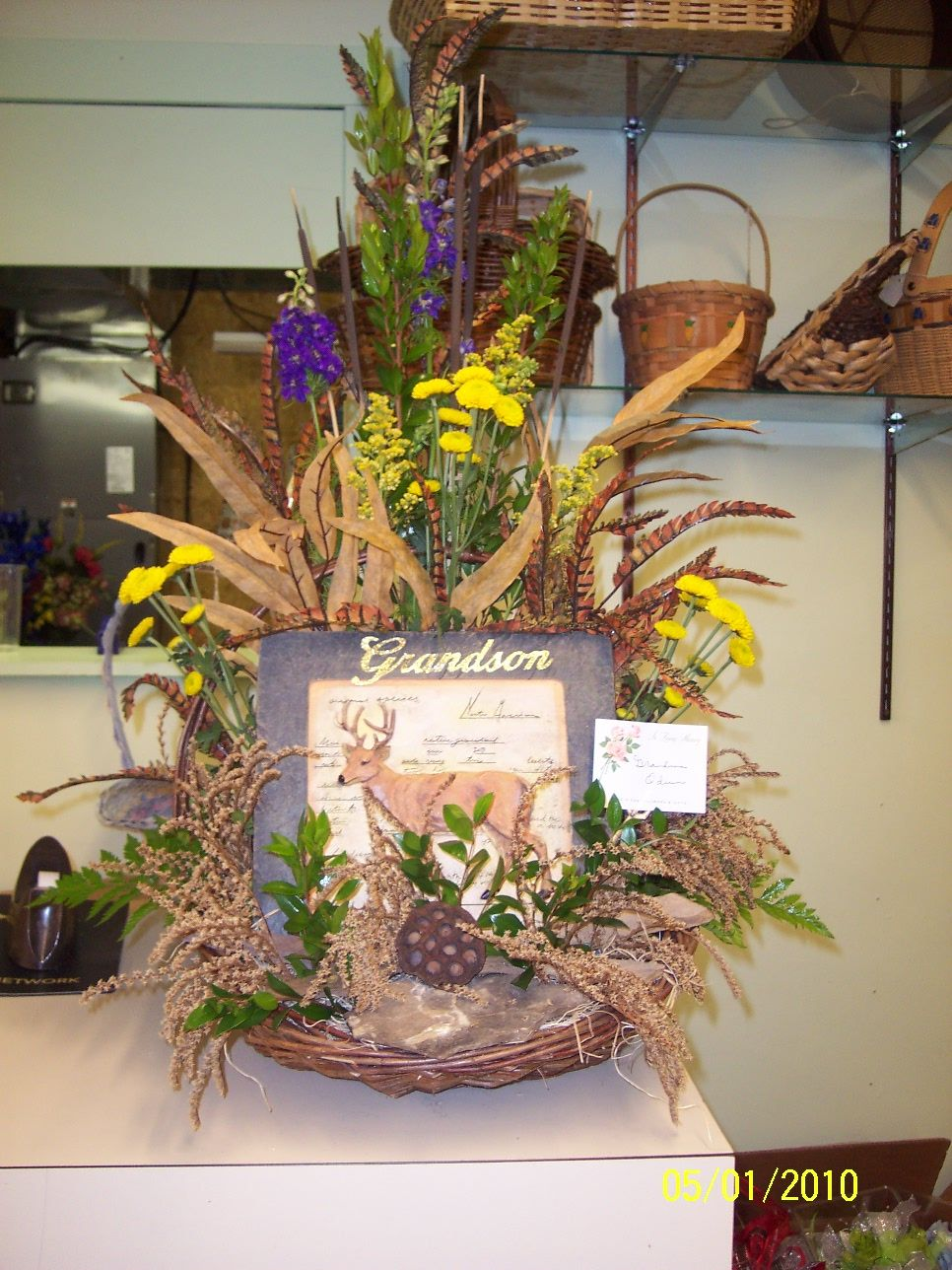 Hunting theme table piece for funeral sympathy flowers funeral dhlflorist Image collections
