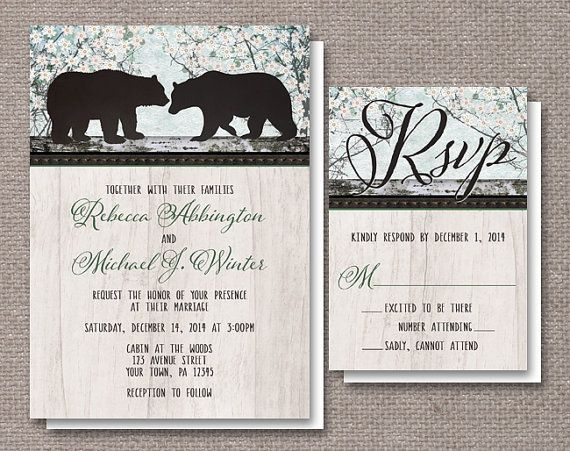 rustic bear wedding invitations country outdoorsy or woodsy theme