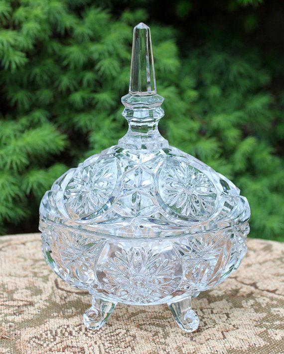 Vintage crystal pedestal candydish with lid.