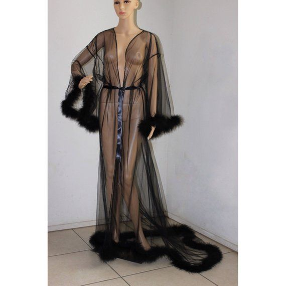 Giselle Black Sheer Robe with fur trim- satin ribbon ties. High quality  lingerie 86b90b0ef