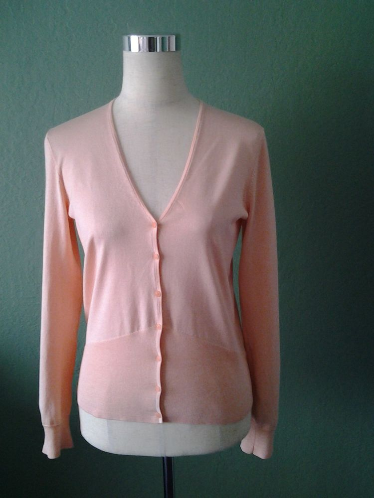 NEW COMPANY ELLEN TRACY VERY LIGHT SALMON SILK BLEND FINE KNIT CARDIGAN MEDIUM #EllenTracy #Cardigan
