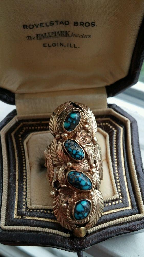14k Gold Old Lander Blue Turquoise NAVAJO Sigh Designer Ring