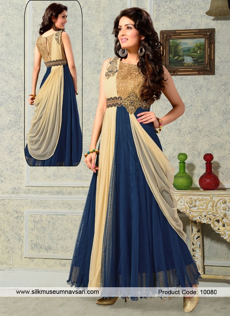 Mesmeric Beige And Navy Blue Birthday Party Designer Gowns ...