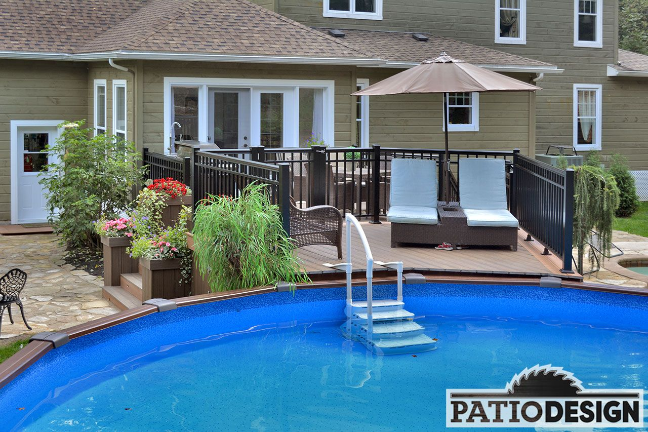 Patio with overground pool Pool decks in 2019 Above