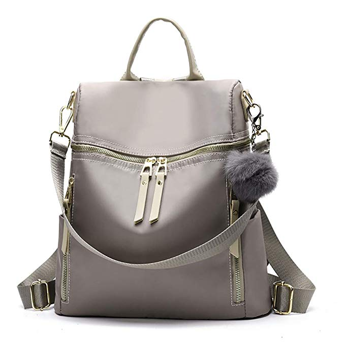 Women Backpack Purse Waterproof Nylon Shoulder Bag Headphone Plug Travel Daypack