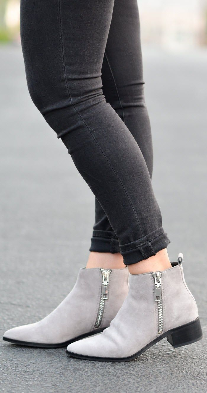 Womens Grey Ankle Boots