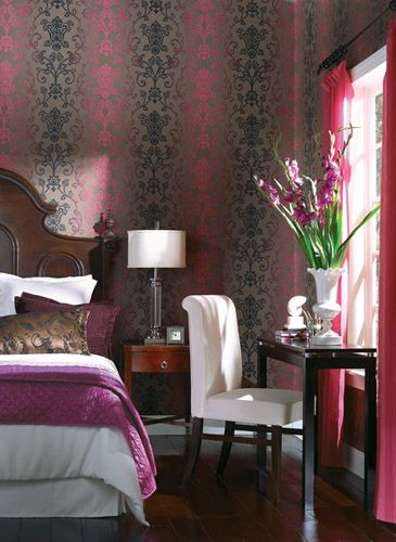 Best Dramatic Damask Stripe Wallpaper Width 27 In Repeat 25 25 In Unpasted Washable Strippable 400 x 300