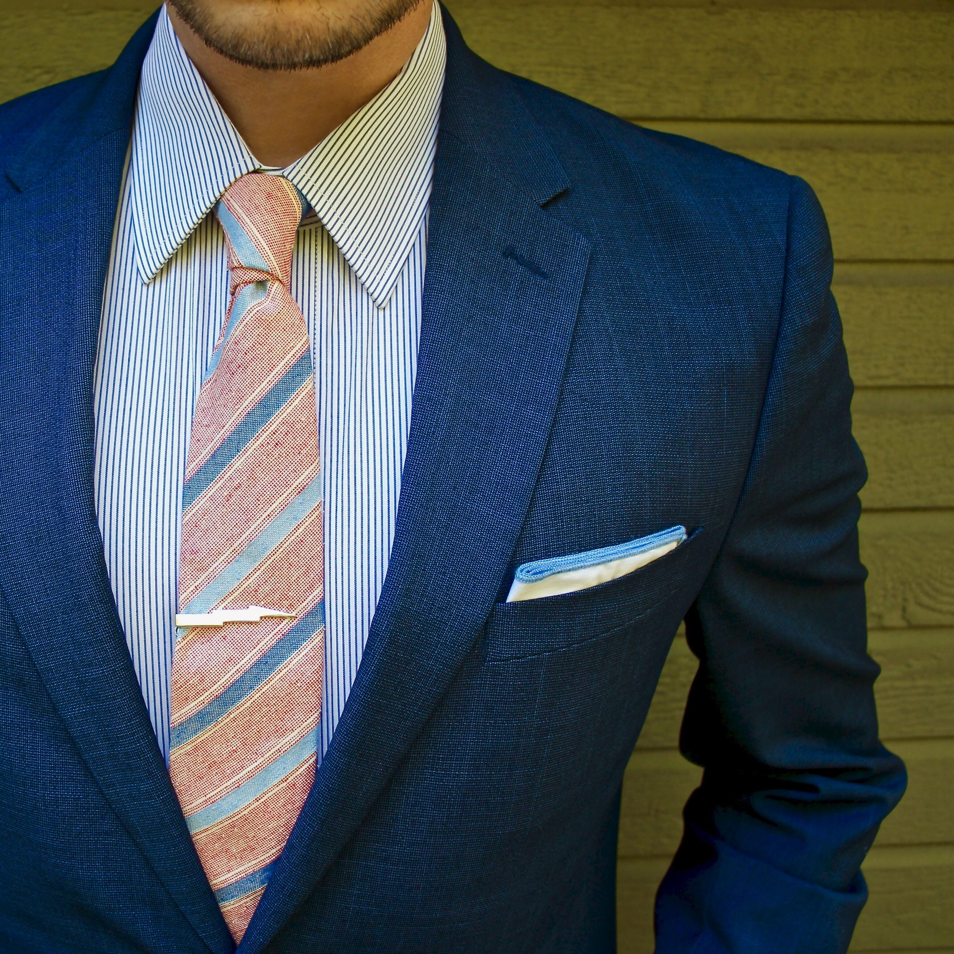 b99073178fe8 Business casual combo with a blue striped shirt red blue light blue striped  linen tie silver tie clip white light blue lined cotton pocket square navy  ...