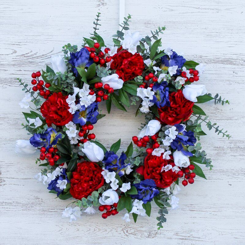 America The Beautiful Silk Wreath In 2020 Red Peonies White Tulips Floral Grapevine