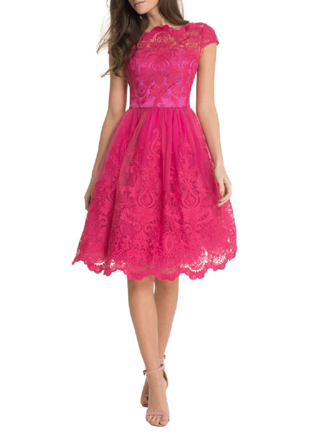 Chi Chi London Baroque Tea Dress  Fuchsia kleid, Weißes