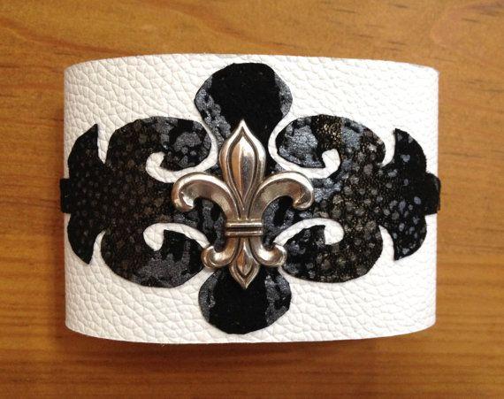 Fleur de lis leather bracelet cuffwomens by ChristyKeysCreations, $18.00