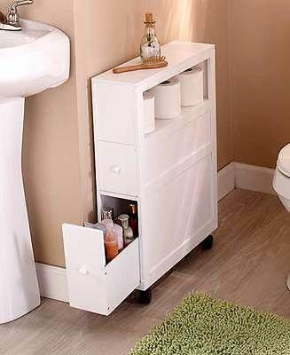 Rolling Slim Bathroom Storage Organizer 2 Drawers Toilet Paper Shelf White Black Slim Bathroom Storage Slim Bathroom Storage Cabinet Bathroom Storage Cabinet